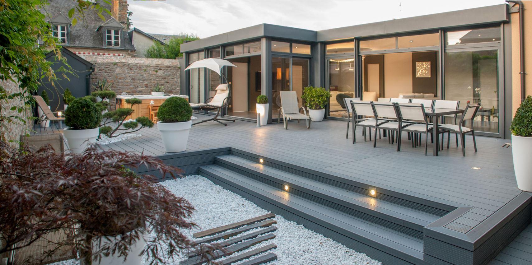 Véranda aluminium toit plat Rouen